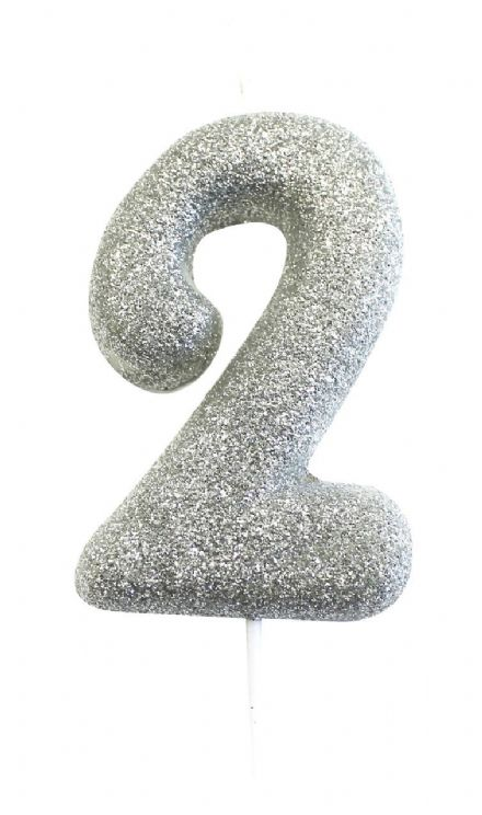 Number 2 Silver Glitter Candle